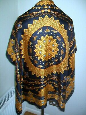 Art Of Silk. A Large & Very Beautiful Gold & Jewels Design Vintage Silk Scarf