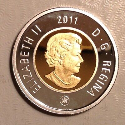 Canada 2012 $2 Gold Plated .999 Proof Silver Toonie Heavy Cameo Coin