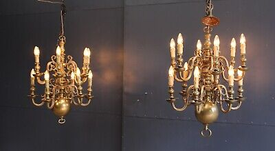 XL Large Pair of 2 Massive Bronze Antique Ball Church Lamps, 19th century.