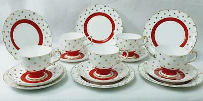 c1947 Tuscan 22ct gold Red band and stars Vintage English Porcelain~China Teaset
