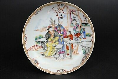 250 year old Antique Chinese Porcelain Famille Rose Dish 16 cm Imperial Scene