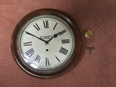 Antique 12 inch railway station / school Mahogany c1900 round wall clock