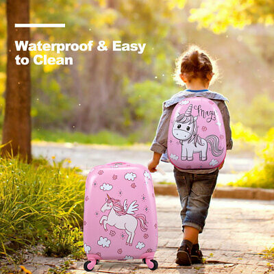 2PC 12''+16'' Kids Carry On Luggage Set Hard Shell Suitcase Backpack Trolley ABS