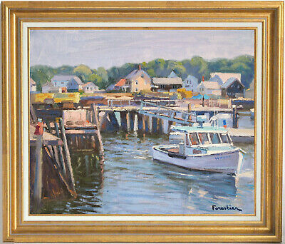 Boat In Vinalhaven~Maine~Listed Artist~Original Oil Painting By Marc Forestier