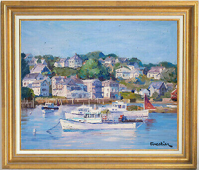 Boats In Stonington Harbor~Listed Artist~Original Oil Painting By Marc Forestier