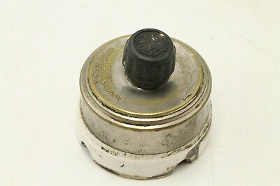 Vintage Perkins Metal/Porcelain Rotary Turn Knob Light Switch