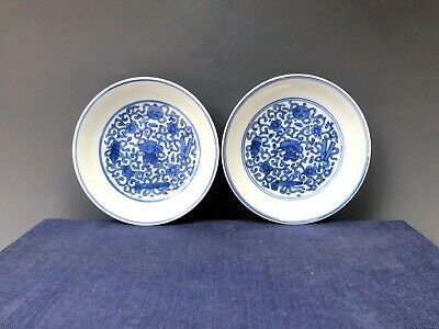 A pair of Antique Chinese blue and white porcelain plates from Qing dynasty
