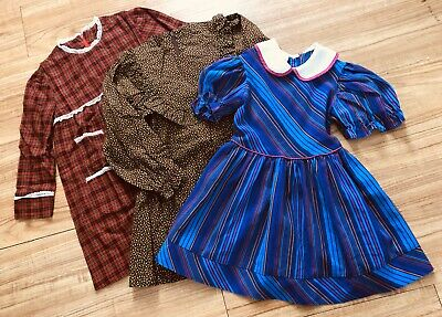 Lot Of 3 VTG Girl's Dresses Purple Pinstriped, Brown Flowers, Red Plaid 5T 70's