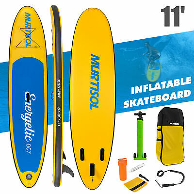 11' Inflatable Stand Up Paddle Board Surfboard Non-Slip Adjustable Paddle Yellow
