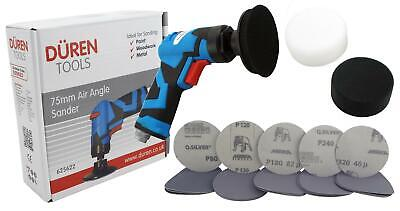 "Duren 75mm Air Angle Sander + 3"" Backing Pad + Foam pads + 25 Mixed mirka Discs"