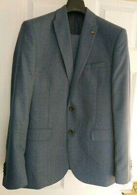 Burton blue tailored fit suit- 38R jacket 32R trousers- VGC slim