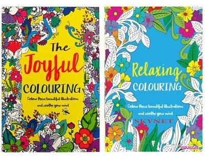 A4 Adult Colouring Book Relaxing Colour Therapy Pack of 2 Books Ideal Gift Set