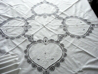 "Vintage White 67"" Rd w/Cluny Lace~Embroidery~TABLECLOTH w/8 NAPKINS@16"""