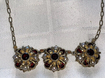 Victorian /Art Deco Gold Wash sterling Filigree Bohemian Garnet Pearl  necklace