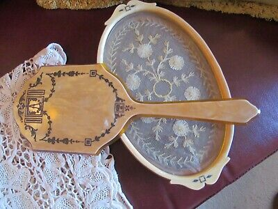 VTG Set Celluloid Dresser Tray Antique Net Lace Under Glass Large Hand Mirror