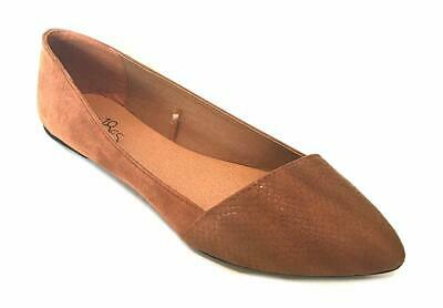 Shoes 18 Womens Microsuede Ballet Flats W/PU Snakeskin Toe (11, 5069 Tan