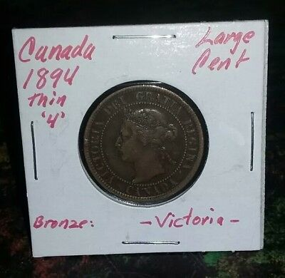 "Very Nice 1894 ""THIN 4"" CANADA Bronze LARGE CENT SCARCE Look & bid buy it now!!!"