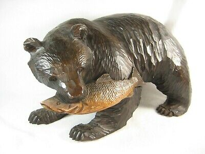 Large Vintage Japanese Hand Carved Wooden Ainu Sculpture Carving Of Bear