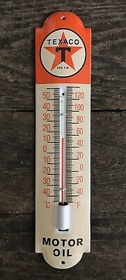 TEXACO Motor Oil Red Star Porcelain Metal Thermometer Sign