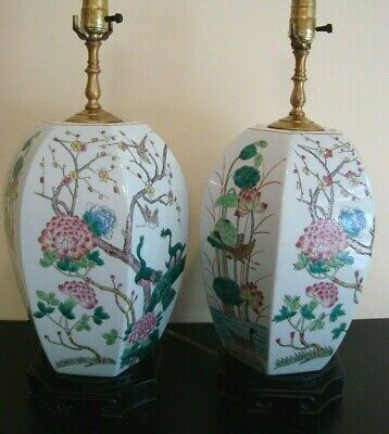 Pair of Large Antique Chinese Famille Rose Porcelain Ginger Jar Lamps