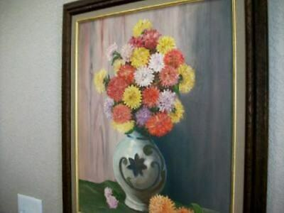 VINTAGE FLORAL OIL PAINTING WOOD FRAME 1950's ROUND TOPIARY BOUQUET MID CENTURY