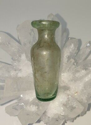 A Very Beautiful Ancient Green Roman Medicine/Cosmetic Glass Bottle 100% OLD