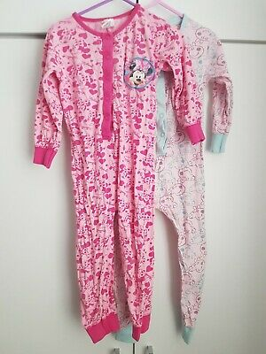 Peppa Pig & Minnie Mouse Cotton All In One Pyjamas Girls Age 3-4 Pink