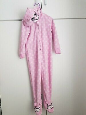 Matalan Girls Pink Cat All In One Age 3-4 With Hood & Feet