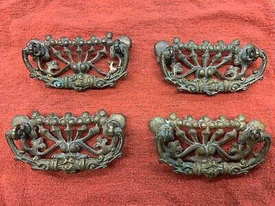 2 Vintage Antique Ornate Fancy Brass Cast Drawer Pulls