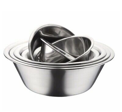 Professional Stainless Steel Wide Round Mixing Bowl Flat Base Stackable