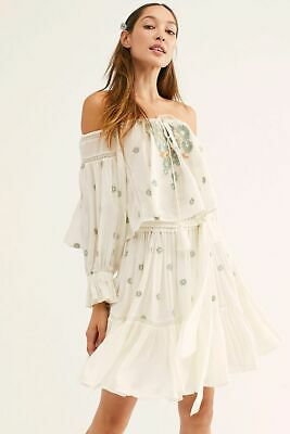 New Free People Giving Kind Embroidered Boho Skirt Top 2Pc Set Sz L Large
