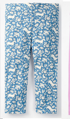 Girls MINI BODEN leggings cropped 2 3 4 5 6 7 y light blue wild ponies