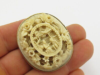 Vintage Antique 9ct 9k Gold Hand Carved Chinese Brooch Pin 375