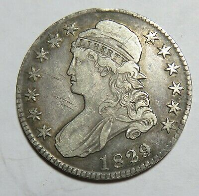 1829 Over 1827 Bust Half Dollar Grafflti On Front