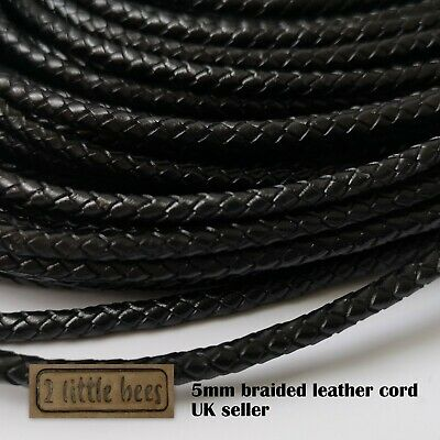 5mm Braided Black Leather Cord Genuine Round Jewellery Bracelet Thong