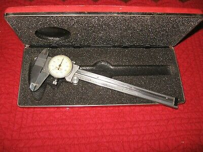 "Vintage Starrett No. 120 6"" Dial Caliper with Case Stainless Steel, US Made"