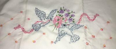 Vintage Pair Hand Embroidered  Pillowcases Bluebird Floral Pansy Cotton