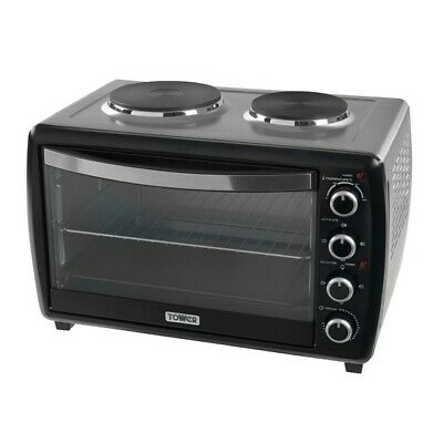Tower Stainless Steel Mini Oven with Double Hotplates and Rotisserie T14014