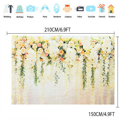 Flower Painted Wall Backdrop Photography Wedding Photo Background Studio Props