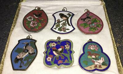 Vintage Set 6 ASIAN ORIENTAL CLOISONNE PENDANT FOR NECKLACE BIRDS  ENAMEL W BOX