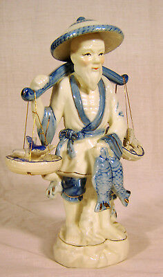 Vintage Chinese Asian Porcelain Figurine Fisherman w/ Fish Gold accents