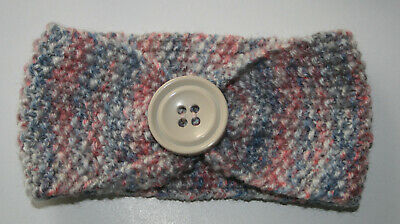 Newborn To 3 Months Baby Headband / Ear Warmer  Hand Knitted ~ Button Finish
