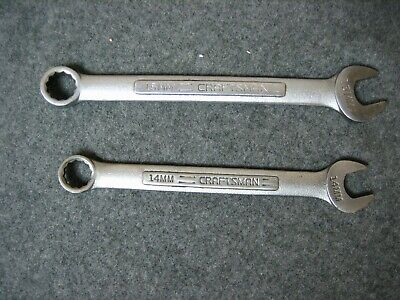 2 - Vintage CRAFTSMAN Metric Combination Wrenches 14MM & 15MM -V- Series  USA