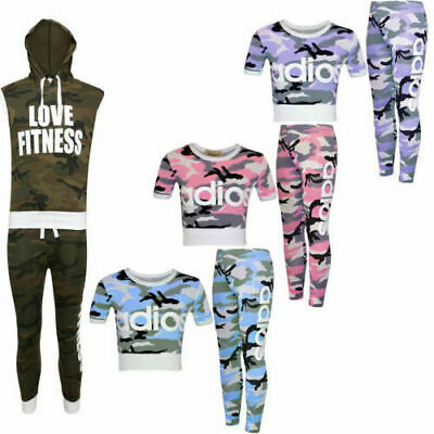 New Kids Girls Adios Printed Camouflage Two Piece Joggers Tracksuit Loungewear