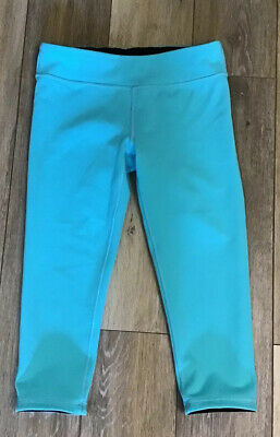 IVIVVA by Lululemon Girls Leggings Size 14  Black Turquoise Reversible Cropped