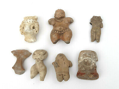 Pre-Columbian Meso American Indian Pottery Clay Burial Dolls Mayan Aztec Mexico
