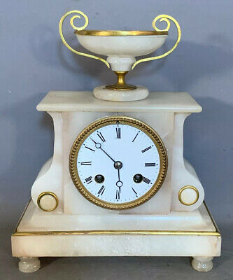 19thC Antique FRENCH VICTORIAN Style ALABASTER & BRASS ORMOLU Old MANTEL CLOCK