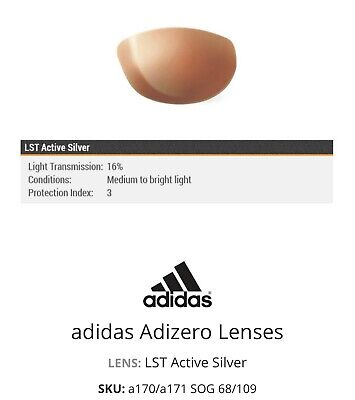 NWT Adidas Adizero A171 Oval Active Silver Sunglasses Replacement Lenses 66mm