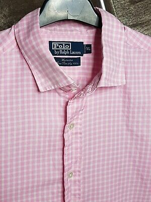 Polo By Ralph Lauren Mens Shirt Pink White Checked Large Long Sleeve