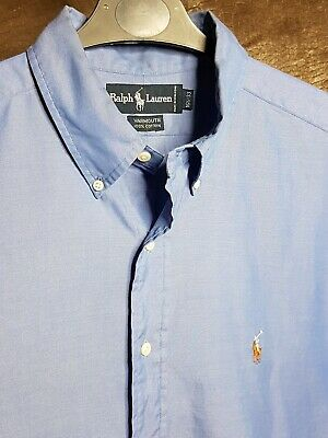 Polo By Ralph Lauren Mens Shirt Blue Xxl Long Sleeve